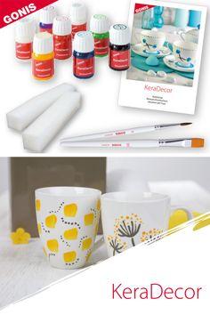 Leuchtende und schnell trocknende Keramikfarbe. Ohne Einbrennen wisch- und spülfest für Handwäsche. Experiment, Mugs, Tableware, Pastel, Creative Ideas, Crafts, Make Your Own, Dinnerware, Tumblers