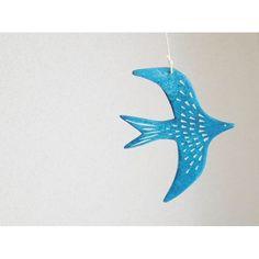 画像1: 石塑粘土モビール/渡り鳥・青