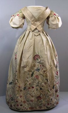 Embroidered Wedding Dress, 1734, reworked circa 1830s. Pale celadon silk with floral embroidery
