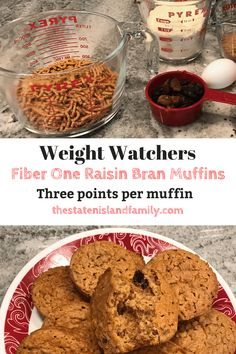 Weight Watchers Fiber One Raisin Bran Muffins Fiber One Bran Muffin Recipe, Weight Watchers Bran Muffin Recipe, Fiber One Brownie Recipe, One Muffin Recipe, Weight Watchers Desserts, Muffin Recipes, Cereal Recipes, Ww Recipes, Apple Recipes