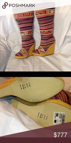 SEXY BOHO GYSPY KNEE HIGH WEDGE  BOOTS 6.5 KNEE HIGH COLORFUL BOOTS SIZE 6 1/2. Na not free people for exp similar in style plz see pix for references and ask any questions Free People Shoes Over the Knee Boots