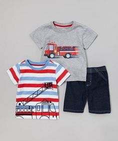 Loving this Watch Me Grow Gray Fire Truck 'Fast' Tee Set - Toddler on Fashion Pants, Boy Fashion, Men Closet, Fire Trucks, Toddler Outfits, Baby Boy, Grey, Shirts, Clothes