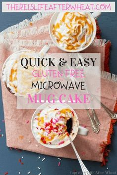 Craving something sweet? Whip up this single serving gluten free mug cake in your favorite mug, pop it in the microwave,and enjoy! Ready in 5 minutes flat, it's easy to make top 8 free as well. Gluten Free Mug Cake, Best Gluten Free Desserts, Gluten Free Recipes For Breakfast, Gluten Free Treats, Gluten Free Flour, Tasty Chocolate Cake, Gluten Free Chocolate, Chocolate Recipes, Gluten Free Living