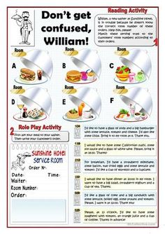 Two activities aimed at A1 and A2 students related to ordering meals. First the students match the orders to the servings trays. Then they do a role play activity in pairs. The second page can be cut out to give your students their own order. - ESL worksheets
