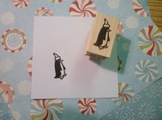 santa hat penguin wood mounted rubber stamp by rubbermoonstamps, $6.00