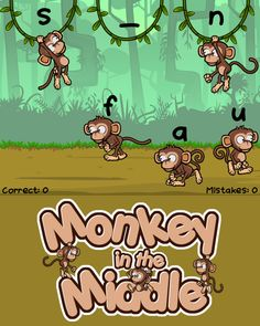 Find the monkey with the middle vowel sound that completes the word, and then drag him up to his vine. Vowel Digraphs, Alphabet Coloring Pages, Educational Games For Kids, Tracing Letters, Beginning Sounds, Spanish Language Learning, Phonics Activities, Phonemic Awareness, The Middle