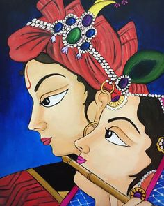 kmistry217Krishna and Radha Madhubani Art, Madhubani Painting, Krishna Painting, Dark Art Drawings, Art Drawings Sketches Simple, Indiana, Indian Folk Art, Cherokee Indian Art, Rajasthani Art