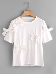 Shop Bow Tie Detail T-shirt online. SheIn offers Bow Tie Detail T-shirt & more to fit your fashionable needs. Crop Top Outfits, Cute Outfits, High Collar Blouse, Short Sleeve Collared Shirts, Diy Clothes, Clothes For Women, Shirt Refashion, Cute Blouses, Japan Fashion