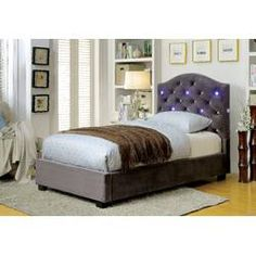 Furniture of America Betelgeuse Collection Twin Size Platform Bed with LED Lights, Button Tufted Headboard, Camelback Design, Solid Wood Construction and Padded Flannelette Upholstery in Grey Color Upholstered Panels, Furniture, Twin Bed Sets, Upholstered Storage, Upholstered Panel Bed, Bed, Furniture Of America, Bed With Led Lights, Leather Platform Bed