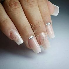 Manicure, Aycrlic Nails, Nude Nails, Hair And Nails, Nail Nail, French Acrylic Nails, Nail Time, Diamond Nails, Elegant Nails