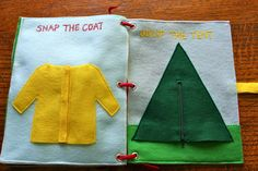 Snap the coat and unzip the tent quiet book pages