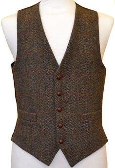 Mens Waistcoat   Brown Herringbone Overcheck