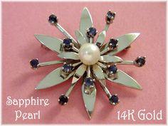 14K White Gold - Ceylon Sapphire & Pearl Star Flower Brooch - Pennsylvania Estate Art Nouveau - FREE SHIPPING by FindMeTreasures on Etsy
