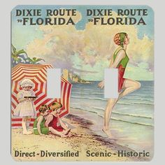 Dixie Route Vintage 1920s Florida Travel Poster Light