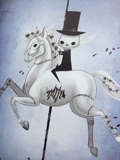 "8x12 fine art print - ""Death"" Four Horsemen of the Apocalypse - cute, creepy carousel drawing - pale horse on Etsy, 155:82 kr"
