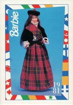 "Barbie Collectible Trading Fashion Card "" Scottish Barbie "" 1981 Scotland 