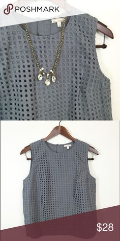 Gap Eyelet Tank Gorgeous blue color. Exposed zipper at back. Back is solid. Front is lined eyelet material. So sweet! Does need pressed. Gap Tops Blouses