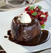 Chocolate heart fondant with a strawberry and mint salad - hellomagazine.com