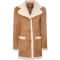 Tan Shearling Sheepskin Coat ($130) ❤ liked on Polyvore featuring outerwear, coats, tan, faux sheepskin coat, sheep coat, women coats, tan trench coat and faux coat