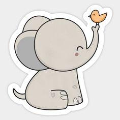 Shop Kawaii Cute Elephant And Bird cute elephant stickers designed by wordsberry as well as other cute elephant merchandise at TeePublic. Cute Easy Drawings, Art Drawings For Kids, Cute Kawaii Drawings, Cute Animal Drawings, Bird Drawings, Kawaii Stickers, Cute Stickers, Griffonnages Kawaii, Baby Elephant Drawing