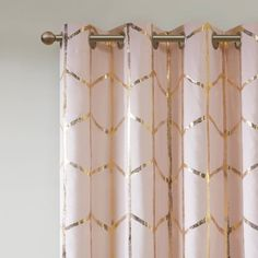 Freshen up your space with the enchanting style of Intelligent Design Raina Grommet Window Panel. Flaunting a geometric design against a solid ground, this drapery panel features 3 pass foamback lining for blackout privacy and energy efficiency. Window Panels, Panel Curtains, Gold Curtains, Ikea, Metallic Prints, Gold Print, Metallic Gold, Intelligent Design, Diy Home