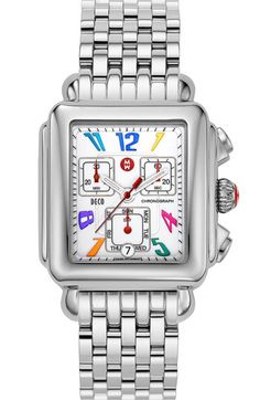 Michele, Deco Carousel Customizable Watch with stainless steel bracelet band, $695