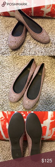 Stuart Weitzman Nubeads Beautiful studded flats. Made in Spain, Haze Suede. Looks like a taupe/beige color to me. Very high quality and so comfortable! They are more beautiful in person. Very hard to capture with the camera. I would keep these in a heartbeat if they were my size! Size 8.5. Like new! Only tried on. I looked all over online, very hard to find. Found the black ones marked down from $415 to $197.40.  Excited to find these a good home! Stuart Weitzman Shoes Flats & Loafers
