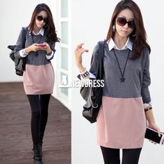Patchwork casual long sleeve plus size loose autumn winter dress $6.89