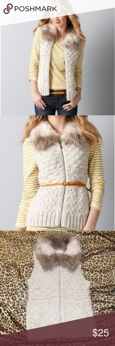 Loft Faux Fur Popcorn Vest Petite faux fur vest from Loft. Gently used and in perfect condition. LOFT Jackets & Coats Vests