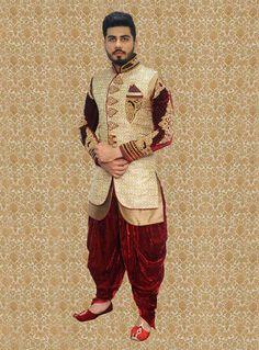 Beige Art Silk Jacket Style Sherwani 80662