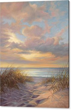 Beach Painting - A Moment Of Tranquility by Lucie Bilodeau - Coastal Ocean Art Landscape Art, Landscape Paintings, Landscapes To Paint, Scenery Paintings, Landscape Lighting, Seascape Paintings, Beach Paintings, Beach Sunset Painting, Acrilic Paintings