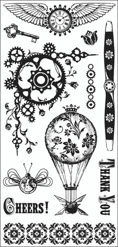 "Steam Punk Inkadinkado Clear Stamps 4""X8"" Sheet I6030352 