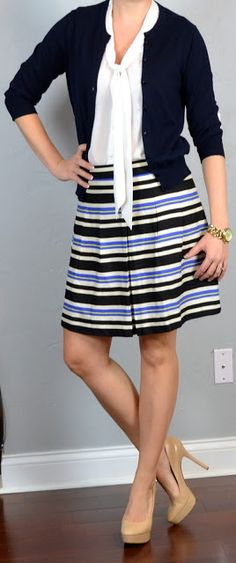 striped blue & yellow a-line skirt, navy cardigan, white tie-neck blouse