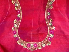 - blouse shirt, ladies blouses and tops, dressy blouses *ad Simple Blouse Designs, Sari Blouse Designs, Blouse Neck Designs, Blouse Patterns, Embroidery Neck Designs, Embroidery Suits, Beaded Embroidery, Embroidery Stitches, Pink Saree Blouse