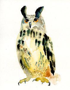 OWL by DIMDI Original watercolor painting 8x10inch