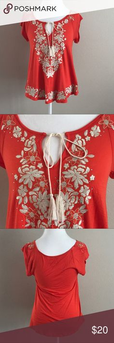 Gorgeous Cream Embroidered Shirt Stunning cream embroidered shirt perfect for fancy or causal wear. In Like New Condition. Measurements upon request. Size Small. INC International Concepts Tops Tees - Short Sleeve
