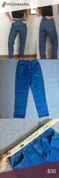 "Vintage 90's high waist mom jeans Get the perfect ""Friends"" look with these vintage 90's Liz Claiborne mom jeans. Relaxed, tapered with a high rise of 11"", these would best fit a 26 or 27 with small waist. Waist measures 26"", hips measure 37"", inseam of 28"". Compare to mom jeans carried by ASOS, American Apparel, Brandy Melville, BDG, and Urban Outfitters! Offers welcome! (Vintage; not BDG). Model wears a 25 in non-stretch BDG denim and 25/26 in stretch BDG denim for reference. BDG Jeans…"