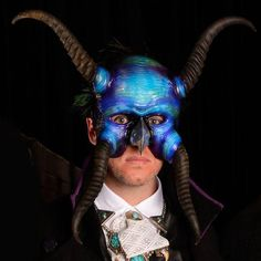 Mitchell used Plastimake and springbok horns to create this spectacular masquerade mask. Masquerade, Biodegradable Products, Horns, Sculptures, Halloween Face Makeup, Create, Masks, Projects, Log Projects