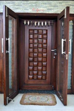 Unique 50 Modern And Classic Wooden Main Door Design Ideas - Engineering Discoveries - September 28 2019 at Wooden Front Door Design, Main Entrance Door Design, Double Door Design, Main Gate Design, Wooden Front Doors, Wood Doors, Modern Entrance Door, Bedroom Door Design, Door Design Interior