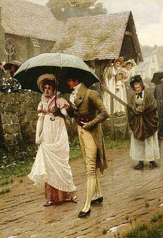 Edmund Blair Leighton - A Rainy Sunday Morning