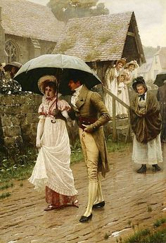 A Wet Sunday Morning by Edmund Blair Leighton.  Wikimedia Commons