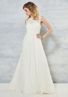 Reverie Moment With You Dress in Ivory by Jenny Yoo - Solid, Special Occasion, Wedding, Cocktail, Bride, Maxi, Sleeveless, Woven, Exceptional, Scoop, Long, White, Ivory, Buttons, A-line, Spring, Summer, Fall, Winter, Chiffon