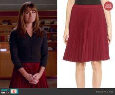 Rachel's red pleated skirt on Glee.  Outfit Details: http://wornontv.net/44647/ #Glee