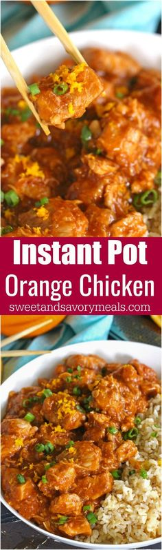 Instant Pot Orange Chicken is healthier than takeout and easy to make using your Instant Pot. Made with fresh orange juice and orange zest for great flavor. #InstantPot #pressurecooker #orangechicken