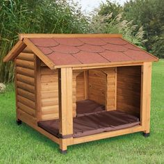 Latest Photos Dog insulation with terrace - ZOOMALIA, # dog insulation - Dog Kennel Wood Dog House, Dog House Bed, Dog House Plans, Dog Bed, Dog Kennel Outside, Diy Dog Kennel, Niche Chat, Luxury Dog Kennels, Dog Cave