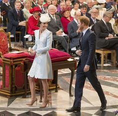 Prince Harry shares a giggle with Kate Middleton at the Queen's birthday service | Daily Mail Online