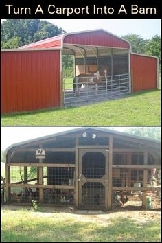 There Are Other Ways of Using a Carport, And For This a Conversion is Required Barn Stalls, Horse Stalls, Backyard Farming, Chickens Backyard, Horse Barn Plans, Mini Horse Barn, Chicken Barn, Horse Shelter, Goat Barn