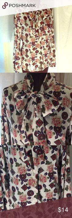 Vintage: no Label Meadallion Rose print blouse Vintage: No Label tie neck medallion/rose print, long sleeve, hidden button front placket, high neck, self tie, pleated back/shoulder yoke, single button cuff No Label Tops Blouses