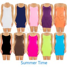 27ad99a56bf CAMI MINI DRESS BodyCon Extra Long camisole tank top slip seamless stretch