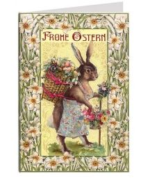 Art Nouveau Bunny with Flower Basket Easter Card ~ Germany